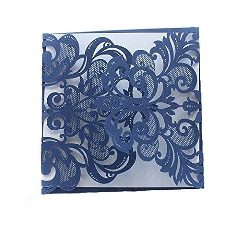 ponatia 25Pack Set Laser-Cut Einladung Karten, Spitze Einladung Kit für Hochzeit Jahrestag Brautschmuck Dusche Geburtstag mit bedruckbar Papier und Umschläge Roal Blue