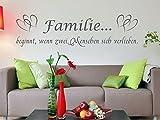 Wandtattoo Familie beginnt verlieben Wohnzimmer Diele Flur Sprüche M2126 königsblau 120cm x 31cm