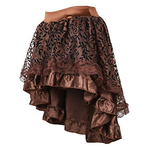 Women Skirt with Zipper,Multi Layered High Low Outfits (EUR(32-34) S, Braun) ()