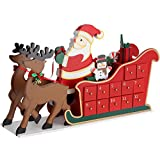 Deuba Adventskalender Rentierschlitten DIY | Weihnachten Kinder Geschenk Kalender 2018 Zum Selber Befüllen | Holz Türchen Deko