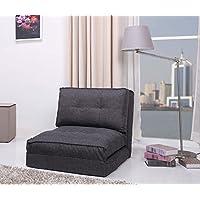 ARTDECO Schlafsessel Jugendsessel Gästebett Bettsessel (Stoffbezug grau groß)