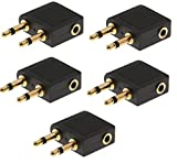 Flugzeugadapter für Kopfhörer/Ohrhörer, 3,5 mm-Klinke, vergoldet, funktioniert mit Sony, Bose, Beats, Apple, JVC, Sennheiser, Panasonic, Betron usw. AAA Products® 5