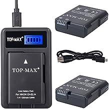 TOP-MAX® (2 Pack) EN-EL14 Batería + Cargador USB para Nikon D3100 D3200 D3300 D3400 D5100 D5200 D5300 D5500,CoolPix P7000 P7100 P7700 P7800