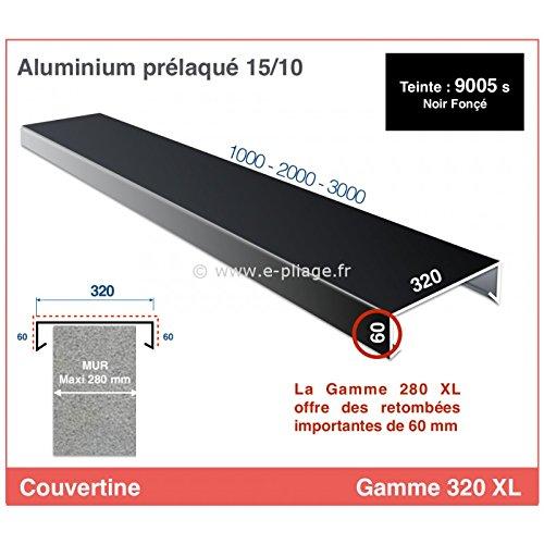 COUVERTINE/COUVRE-MUR - GAMME 320 XL - POUR MURET, ACROTERE OU TOIT TERRASSE (longueur 3000 mm, RAL 9005 SATINE NOIR FONCE)