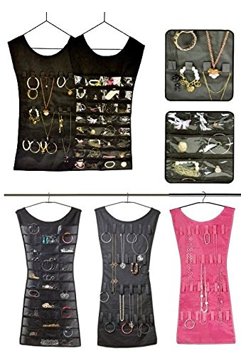 Packnbuy Set of 2 (1 BLACK + 1 PINK) Color Jewelery Organizer Hanging Dress Jewellery Jewelry Bag Double Sided for Necklaces Chains Earrings Watch Pendants Cosmetics