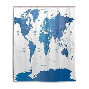 Cortina de ducha de baño 60x 72inch Azul Arte Digital, diseño de mapamundi tela de poliéster a prueba de moho cortina de baño