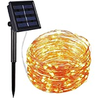 Vemont Solar LED Luces Impermeabl 10M 100 LEDs cadena 8 Modo iluminación llevó el cobre cadena de luces de alambre para la Navidad del festival (amarillo, 10M-100LEDS)