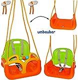 """mitwachsende - Babyschaukel / Gitterschaukel mit Gurt - """" ORANGE / GRÜN / GELB """" - leichter Einstieg ! - mitwachsend & verstellbar - 100 kg belastbar - Kinderschaukel ab 1 Jahre - mit Rückenlehne & Seitenschutz - Schaukel für Kinder - Innen und Außen / Garten - für Baby´s - aus Kunststoff / Plastik - Kunststoffschaukel - Mitwachsschaukel bunt - Sicherheitsgurt - Gitterschaukel / verstellbare Kleinkindschaukel - Baby - Indoor Outdoor"""