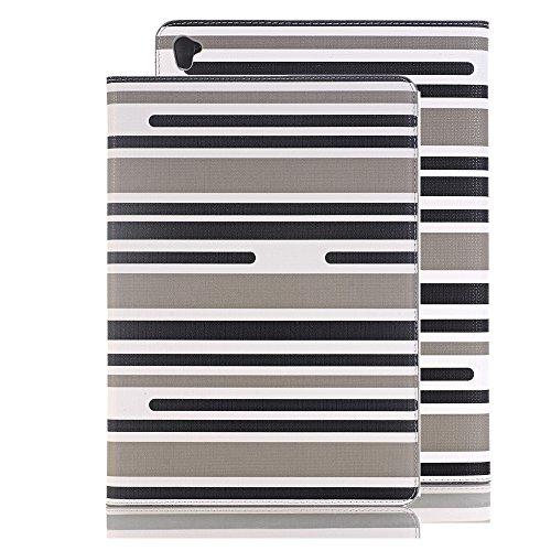 12,9 zoll Hülle, elecfan® Luxus Bookstyle Streifen Muster Folio Hülle Tasche Ständer Magnet Auto Aufwachen Schlaf Funktion und Einstellbarem Blickwinkel Funktion Schutzhülle für iPad (iPad Pro 12.9, B Grau Streifen