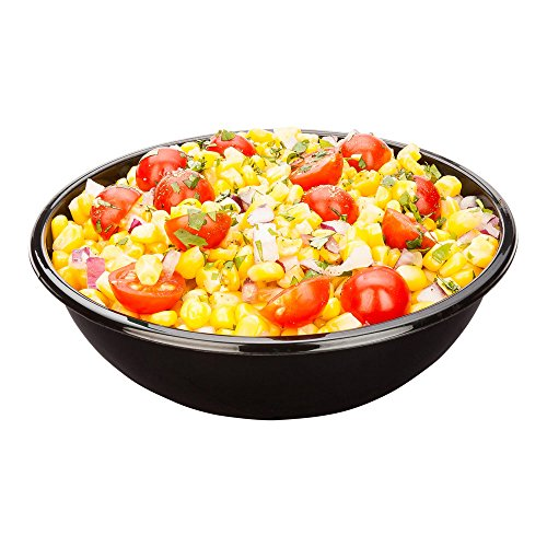 Large Plastic Salad Bowl, Cold Salad Bowl - Durable PET Plastic - Black - Use In-House or for To-Go - 21 oz - 200ct Box - Restaurantware