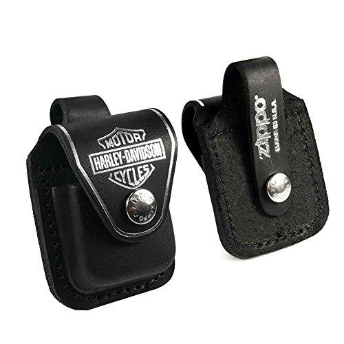 Preisvergleich Produktbild Zippo (Harley Davidson) Tasche Hülle briquet -Kasten - echtes Leder-Schwarz