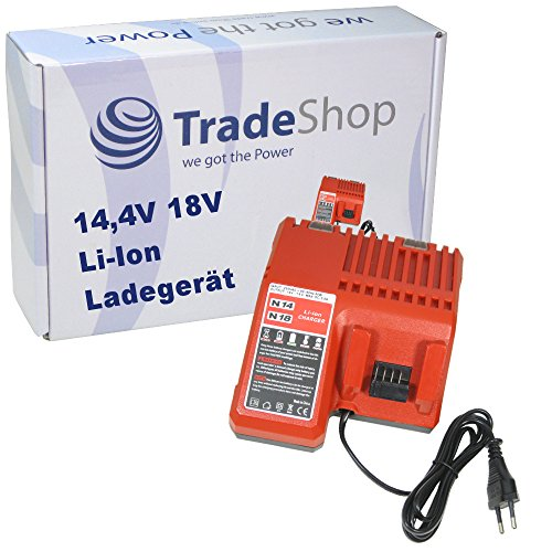 Trade-Shop 14,4V 18V Li-Ion Akku Ladegerät Ladestation Schnellladegerät für AEG / Milwaukee C18PD Upgrade M18BPD Impact Driver C18RAD-31 Compact Cordless Right Angle Drill HD18HIWF M18 HD18 Fuel Impact Wrench 18V HD18PP2A