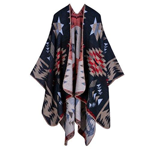 Honghu Cape Poncho Femme Tricot,Poncho Capes Châle Ouverture Extra Large écharpe Châle Poncho Automne Hiver Noir 2