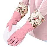 Winter Water Stop in pile caldo, floreale fiore guanti in lattice di gomma lavaggio guanti guanti da cucina rosa