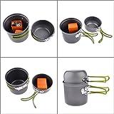 INIBUD Kochgeschirr Herd Outdoor Tragbar Campingkocher Campinggeschirr Picknick Kochen Werkzeug Kochgeschirr Set + Piezo Zündung Kanister Herd - 5