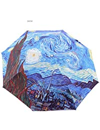 Van Gogh paraguas pintura al óleo recreativa paraguas triple para soleado y lluvioso día protector solar