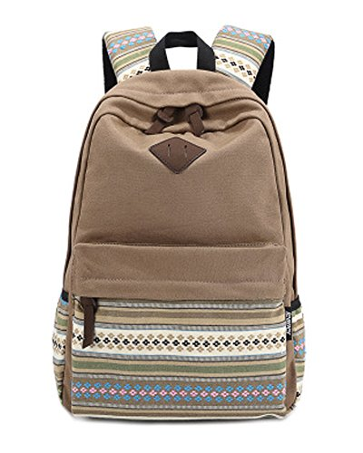 Minetom Beau Style Ethnique Toile Sac À Dos Loisir Multi-Fonction Voyages Scolaire Backpack Femme Marron