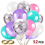 Howaf 52 Pièces Latex Ballons baudruche Violet Confettis Ballons Rose Blanc Ballons...