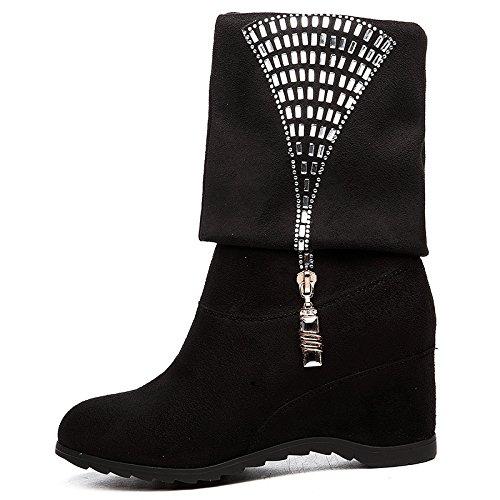 Ajunr-women's Shoes À La Mode Une Pente Avec Bottes Femmes Automne Hiver Zipper Bottes Bottes Pour Femmes Et Chaussures Plates Dans Un Appartement Et Des Pistes Avec Des Chaussures Femmes Noir 35 36