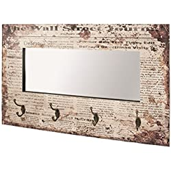 Espejo vintage y perchero, 52 x 80 x 10 cm