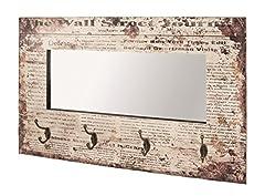Idea Regalo - Haku, Specchio da Parete con 4 Ganci Appendiabiti, (Bunt 1)