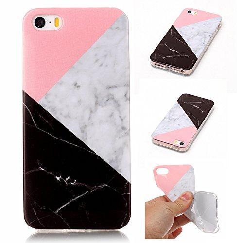 Coque iphone SE /iphone 5S, Meet de Téléphone Case (Design marbre) Slim TPU Silicone Case Cover Housse Etui pour iphone SE /iphone 5S - tricolore