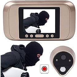 Giantree Visor de puerta inteligente, cámara de mirilla digital HD con ángulo de visión amplio Función de monitoreo móvil Pantalla LCD Timbre de puerta Vista nocturna infrarroja Adecuado para puerta