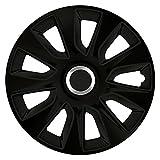 16 Zoll Radzierblenden STRATOS RC BLACK (Schwarz mit Chromring). Radkappen passend für fast alle VW Volkswagen wie z.B. Passat!
