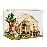 ANGION Puppenhaus Sonnenschein Gewächshaus Blume Shop DIY Puppenhaus Montieren Musik Abdeckung Licht 3D Holz Miniatur Puppenhaus Möbel Spielzeug Für Kind