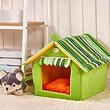 NBKMC Hundehütte Katzenhöhle Hundehöhle Hundebett Katzenbett Hundehaus Haustier Zwinger Luxus High-End Welpen Bett Warm Zimmer 2-in-1 Haustier Haus und Sofa mit einem abnehmbaren Kissen waschbar (L, Grün)