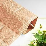 Bovake PE-Schaum 3D-Tapete DIY Wand-Aufkleber-Wand-Dekor prägeartiger Ziegelstein-Stein (Khaki)