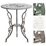 CLP Gartentisch Sharma I Handgefertigter Tisch aus Aluminium-Guss I Balkontisch mit Stilvollen Verzierungen im Jugendstil I in Verschiedenen Farben erhältlich Bronze
