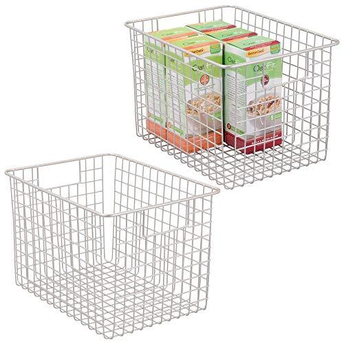 mDesign 2er-Set Allzweckkörbe aus Metall - Flexibler Aufbewahrungskörbe für die Küche, Vorratskammer etc. - je 30,5 cm x 22,8 cm x 20,3 cm - universelle Drahtkörbe mit Griffen - mattsilberfarben -