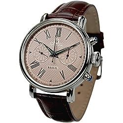 "POLJOT Cronógrafo reloj de hombre ""Baikal"" cuerda manual mecánico banda de piel Russian Watch"