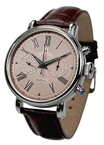 Poljot Int. Chronograph 'Baikal' Mechanische Armbanduhr gür Herren Lederband Braun