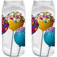 FHCGWZ 5 unids/Set Lindo Casual Calcetines de Algodón 3D Dulces Calcetines de Impresión Medio Unisex Hombres y Mujeres Calcetines Transpirables Estilo Popular