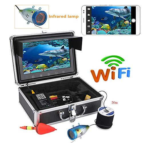 STHfficial W-LAN Fischfinder,9 Zoll-Farbmonitor 50M 1000tvl Unterwasserfischen-Videokamera HD WiFi Drahtlos Für IOS Android APP