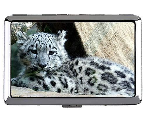 Astuccio portasigarette, Custodia per biglietti da visita in metallo leopardato di Leopardo delle nevi delle nevi