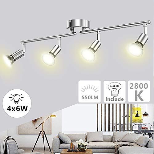 Plafonnier LED 4 Spots Orientables Ketom LED Plafonnier 4 x 6W Ampoules GU10 Blanc Chaud 2800K 550LM Equivalent 54W, 82Ra Non Dimmable Spot de Plafond pour Chambre Cuisine Salle à Manger Coulo
