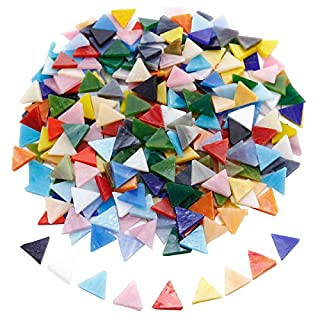 SurePromise 350pcs Mosaic Tiles Assorted Colors Triangle Glitter Glass Mosaics with Storage Box for DIY Art Craft Decoration