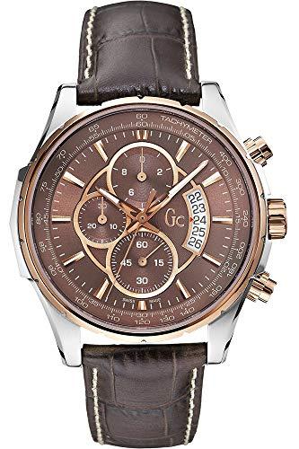 Guess Herren Chronograph Quarz Uhr mit Leder Armband X81002G4S (Herren-uhr Guess)
