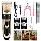 Pet Dog Grooming Clippers - Rechargeable Low Noise Cordless Pet Clippers, Professional Dog