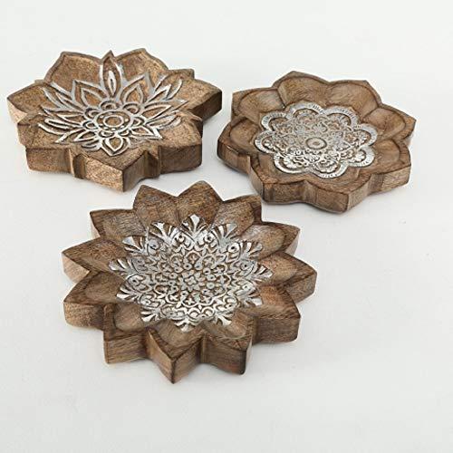 Home Collection Hogar Decoración Accesorios Ornamento Juego de 3 Cuencos Adornos Orientales Ø 25 cm