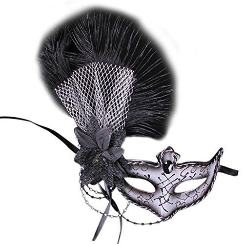 ske, Fascigirl Federmaske Blumen Halbe Gesicht Venezianische Maske (Venezianische Feder Maske Schwarz)