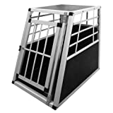 Leopet Alu Hundetransportbox Transportbox Auto 55/75/69 cm Hundebox in Silber Autohundebox