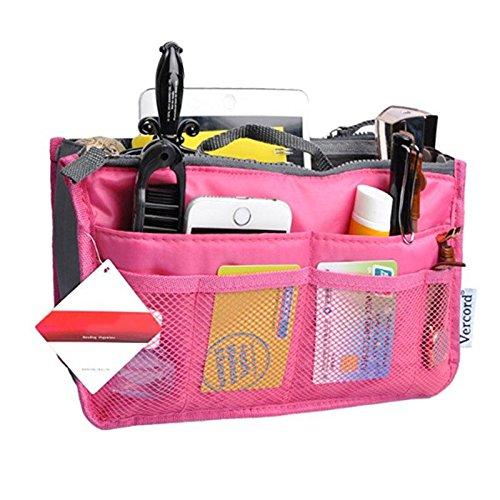 Kobwa portable multi-pocket borsetta organizer borsa inserto antiscivolo della, donne da viaggio cosmetico tascabile, hot pink, 28 * 18.5 * 8.5cm