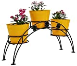 #8: GIG Handicrafts Iron 3 Tier Pot Stand, Black with Yellow Planter 18 x 66 x 30 cm