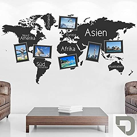 DESIGNSCAPE® Wandtattoo Fotorahmen Weltkarte 120 x 64 cm (Breite x Höhe) grau DW807248-S-F6