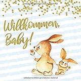 Willkommen, Baby!: Babyparty Gästebuch mit zwei Hasen für Jungen - blau mit...