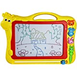 Magnetic Erasable Doodle Drawing Board Toys Gift Set with 3 Shape Stamps for Kids, Animal Theme,Color Send by Random